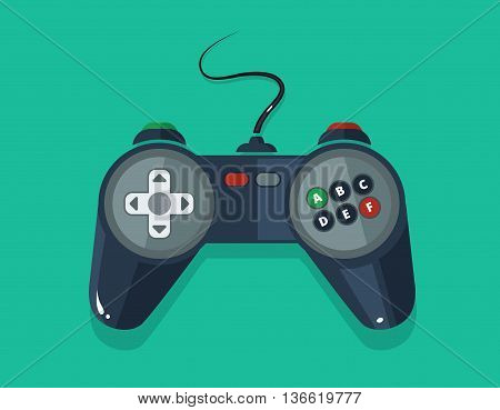 vector picture of gamepad in flat style isolate on dark background