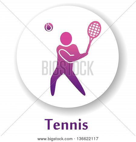 vector icon with sport tennis player silhouette