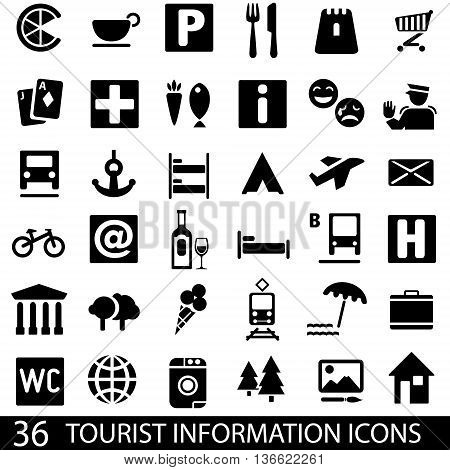 Set of 36 icons for tourist map. Tourist information icons. Guide