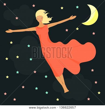 Stars, moon and girl  in a dream. Good night card.