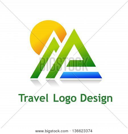 Logo for tourist industry: hotel travel agency outdoor company.