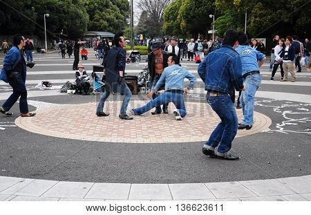 15 April 2012. Harajuku Kyoto Japan. Elvis street dancing group