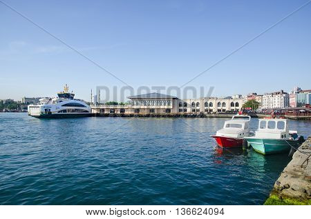 Istanbul, Turkey - May 29, 2016:  The new ferry for Istanbul, Kadikoy Pier.Not only are ferries part of Istanbul's identity and good public transport options, they're also a great way to do some sightseeing, with terminals near Topkapi Palace, the Maiden'