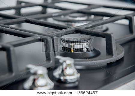 the New and modern shining metal gas cooker