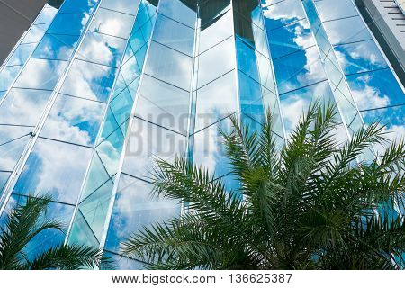Sky refection on building in black and white