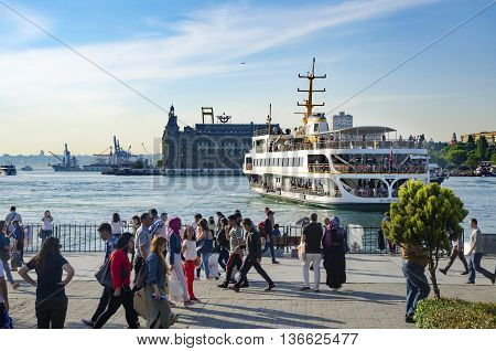 Istanbul, Turkey - May 29, 2016: Strait of Istanbul, Kadikoy Pier, Haydarpasa train station and Ferries.Strait of Istanbul, Kadikoy Pier, Strait of Istanbul, Kadikoy Pier and Ferries. Ferries are the most popular form of public transport in Istanbul for o