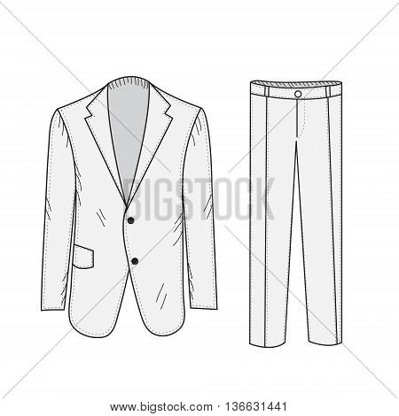 Suit Business sketch office suit in the style of hand drawing. Jacket and pants mockup. Business clothing. Vector illustration.