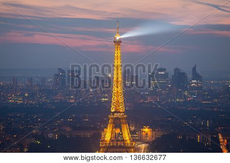 Paris, France - June 6, 2016: Aerial view of Eiffel tower on the day of UEFA European Championchip opening ceremony in Paris, France on June 9th 2016.