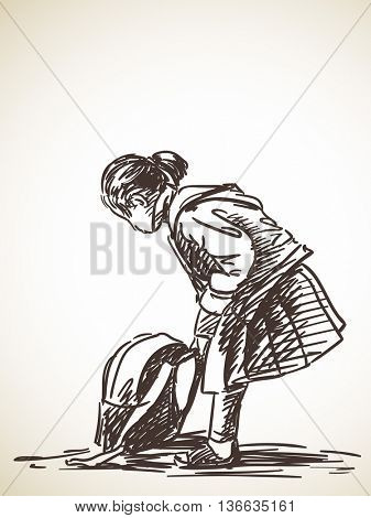 Sketch of school girl and backpack on ground, Hand drawn illustration
