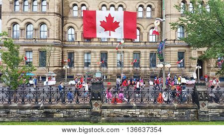 OTTAWA CANADA - JULY 1 2016 : Canadians celebrating Canada Day in downtown Ottawa Ontario.