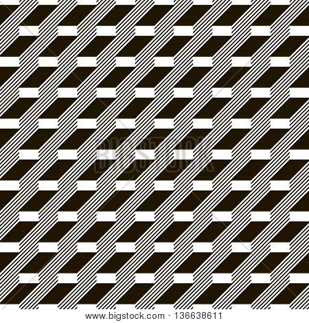 Abstract seamless black and white pattern. Stair step located rectangles and diagonal lines. Monochrome geometric ornament. Vector illustration for various creative projects