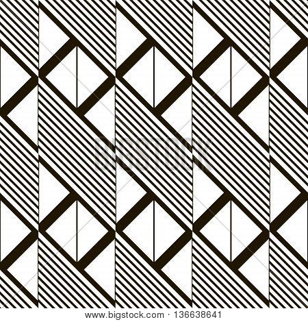 Abstract seamless black and white pattern. Parallelogram tiles filled with diagonal lines alternate with ones filled with triangles. Monochrome geometric print. Vector illustration for modern design