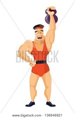 vector illustration of Vintage Strongman. Ancient athlete. Retro bodybuilder. Strong power Circus actor.
