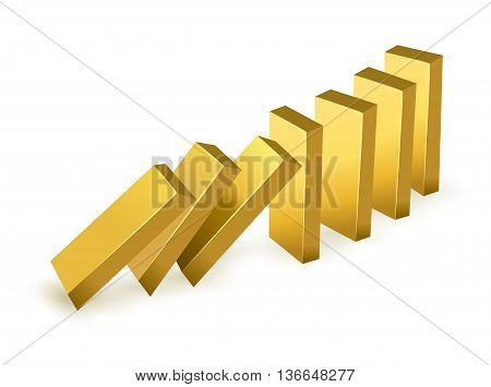 Falling price gold concept. Falling gold bars as dominoes. isolated on white background