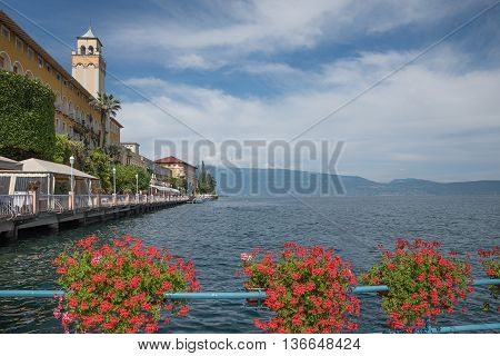Garda Lake At Gardone Riviera, Pictorial Lakeside Promenade