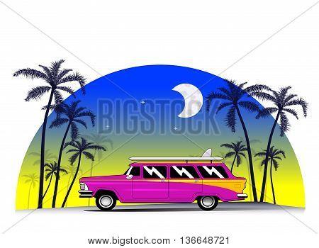 Vintage car with surfing board. Miami, Florida, Hawaii vacation concept illustration. Vector