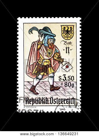 AUSTRIA - CIRCA 1967 : Cancelled postage stamp printed by Austria, that shows Envoy.