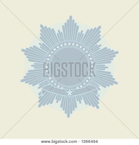 Insignia - star shaped with banner . Blank so you can add your own images. illustration. poster