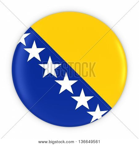 Bosnian And Herzegovinian Flag Button - Flag Of Bosnia Herzegovina Badge 3D Illustration
