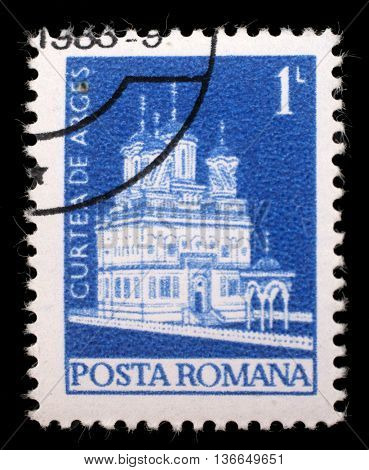 ZAGREB, CROATIA - JULY 18: A stamp printed in Romania shows Curtea de Arges cathedral, circa 1974, on July 18, 2012, Zagreb, Croatia