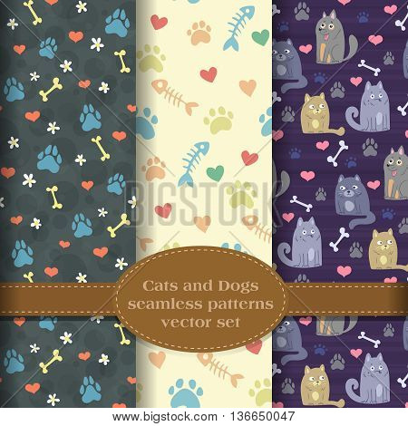cats and dogs and their paw prints, pet theme background patterns vector set