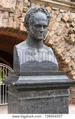 Saint-Petersburg, Russia - June 26, 2016: The bust of the architect Alexander Terebenev freylinskom garden in the Catherine Palace. Terebenev - Russian sculptor, academician of the Imperial Academy of Arts, author of the famous Atlantis in the portico of