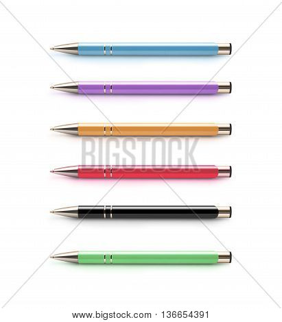 Set of pens isolated on a white background. Blue, purple, orange, red, black, green.  Nice pen mock up for corporate busines identity presentation. Drawing and writing. Show showing shows pens.