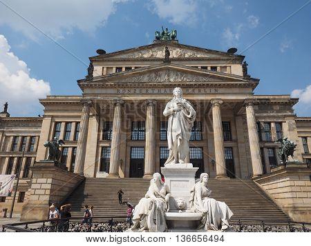Schiller Statue In Front Of Konzerthaus In Berlin
