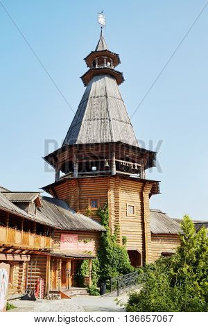 MOSCOW, RUSSIA - JULY 27, 2015: Wooden tower, Russian Toys and Dolls Museum, Soap Workshop at Izmailovo Kremlin. Cultural complex Kremlin in Izmailovo founded in 2003.