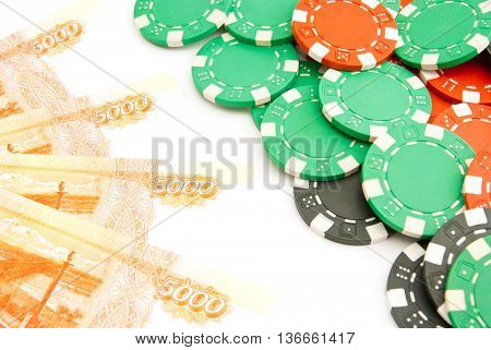 Rubles And Colored Plastic Chips