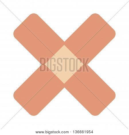 simple flat design crossed bandaid icon vector illustration