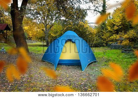 single blue tent in colorful forest.