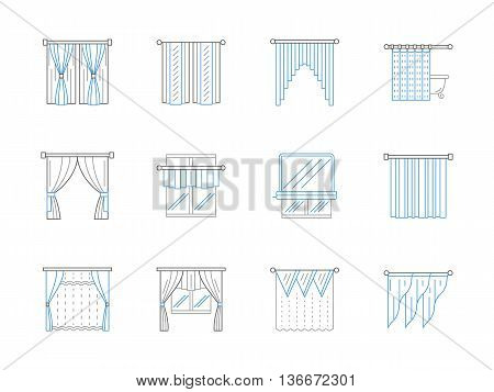 Luxury and classical curtains, drapes, blinds, pelmet and lambrequin. Textile window decoration for stylish interior design. Set of black and blue flat line style vector icons.