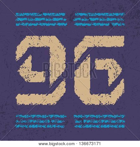 T shirt typography graphic with number. Grunge old vintage style Fashion print sports wear. Emblem american varsity or college team for badge poster label. Template card textile Vector illustration