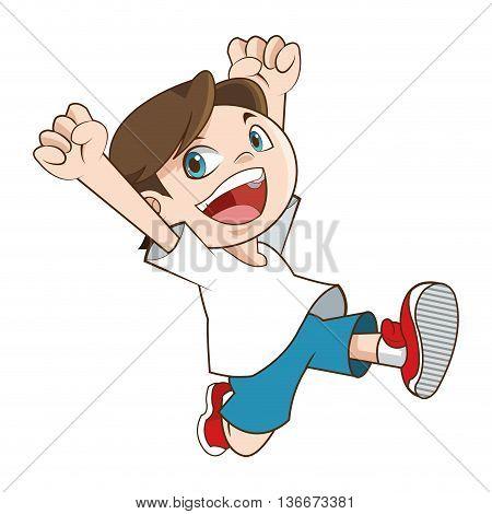 simple flat design happy smiling running boy icon vector illustration