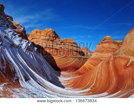 rock formation with snow at The Wave Arizona