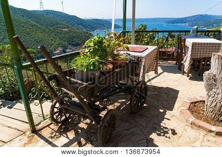 Countryside cafe restaurant setting with mountain and Bosporus views. Anadolu Kavagi Turkey