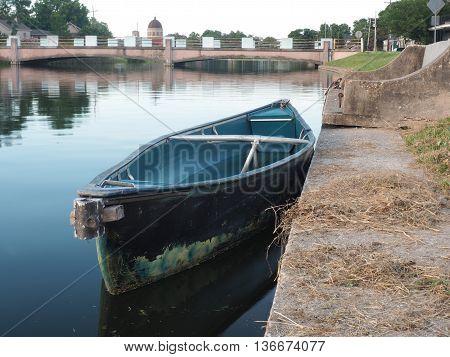 Empty boat on the water of Bayou St John, New Orleans, Louisiana