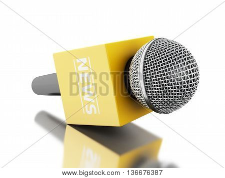3d renderer image. News microphone tv with yellow box. News concept. Isolated white background.
