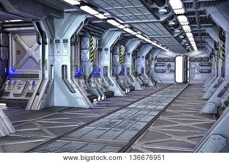 Spaceship Sci-Fi corridor interior design 3d illustration