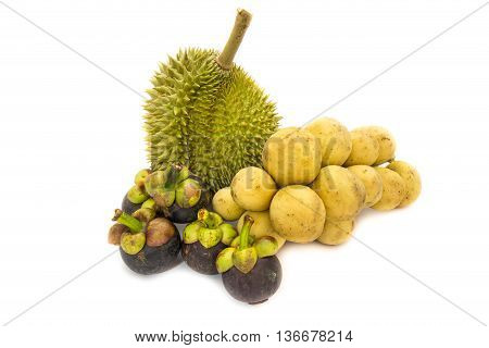 Durian King of fruits and Mangosteen queen of fruits and Wollongong delicious fruit or Longkong fruit or Lansium parasiticum in plate is tropical fruit in south east Asia on white background