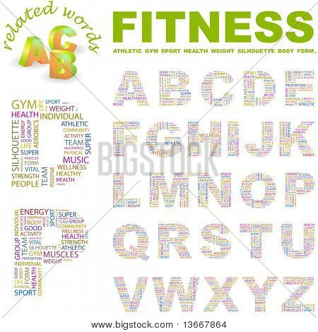 FITNESS. Vector letter collection. Illustration with different association terms.