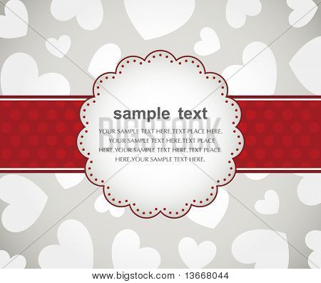 Template frame design for valentine's  day card