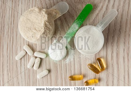 Scoop Of Protein, Bcaa And Creatine, Omega3 In Pills