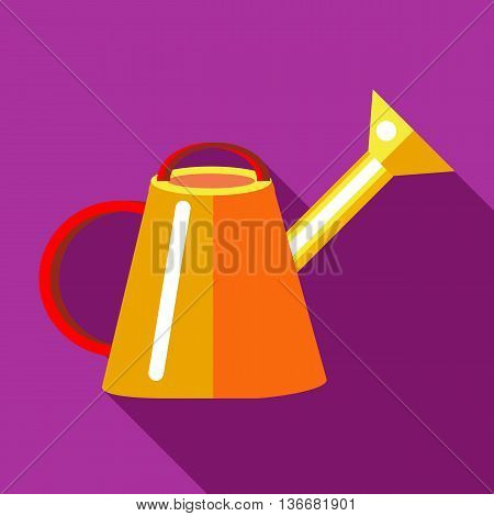Orange watering can icon in flat style on a fuchsia background