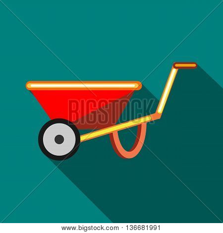 Red wheelbarrow icon in flat style on a turquoise background