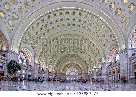 Washington, Usa - June 24 2016 - Washington Dc Union Station Internal View On Busy Hour