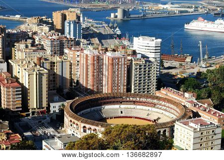 Elevated view of the bullring and port area Malaga Costa del Sol Malaga Province Andalucia Spain Western Europe.