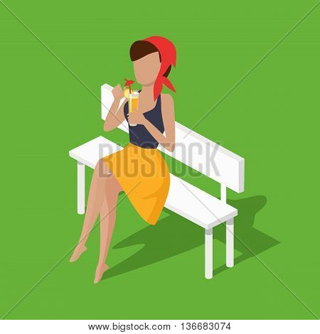 Recreation woman on bench with juice. Beautiful attractive young girl sitting on a bench and rest drinking juice through a straw. Relax female sitting with cocktail isolated. Vector illustration