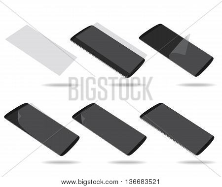 Black smartphones display with protector glass set different foreshortening. Vector illustration. EPS 10. No gradients. Raw materials are easy to edit.